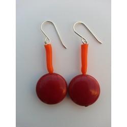 Pendiente plata largo naranja y jaspe rojo