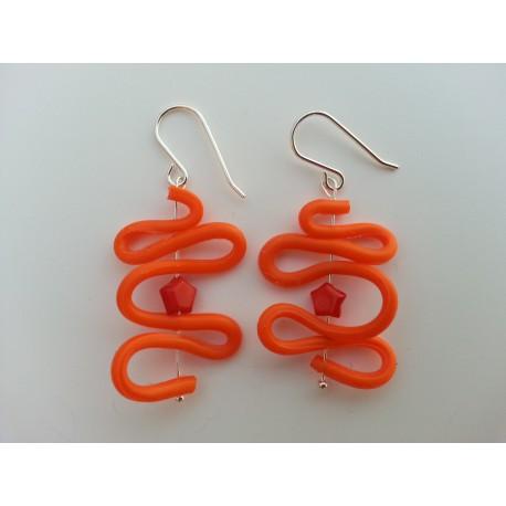Pendiente plata naranja y coral