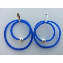 Aros silicona azul y plata